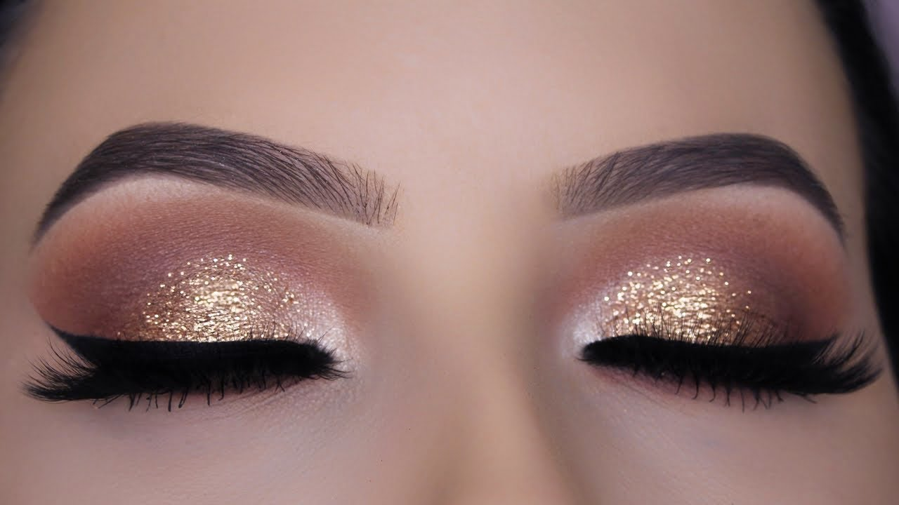 Classic Brown Glitter Eye Makeup Tutorial - YouTube