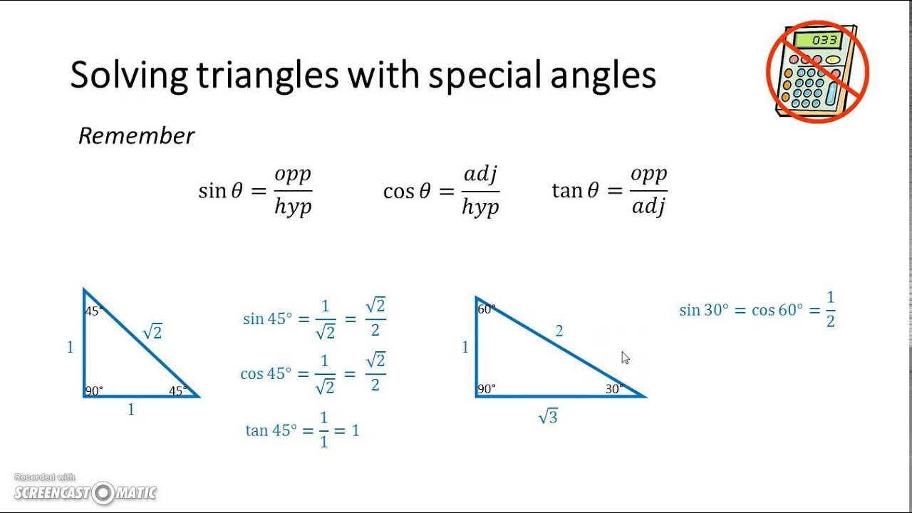 solving triangles with special angles youtube. Black Bedroom Furniture Sets. Home Design Ideas