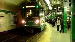 MBTA Green Line trains at Government Center before renovation