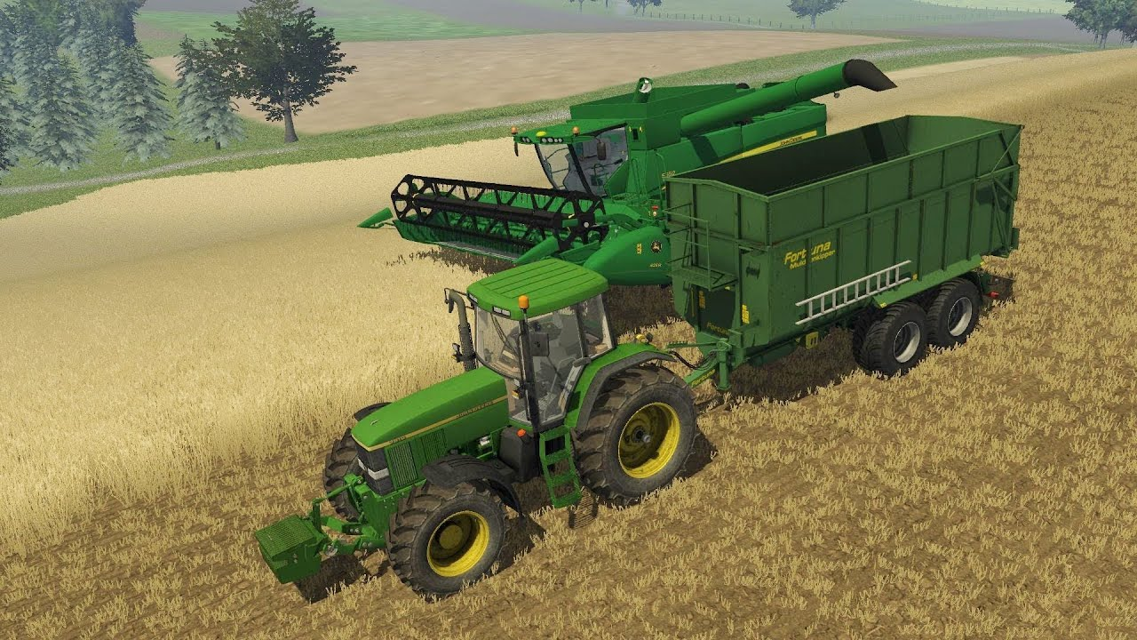 Farming Simulator 2013 Harvesting wheat with JD