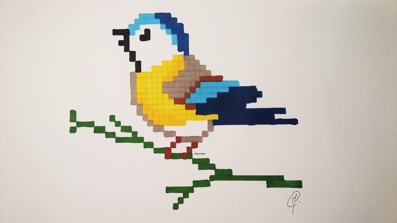 Cute Bird Drawing Very Easy Pixel Art Unicorn Bonus