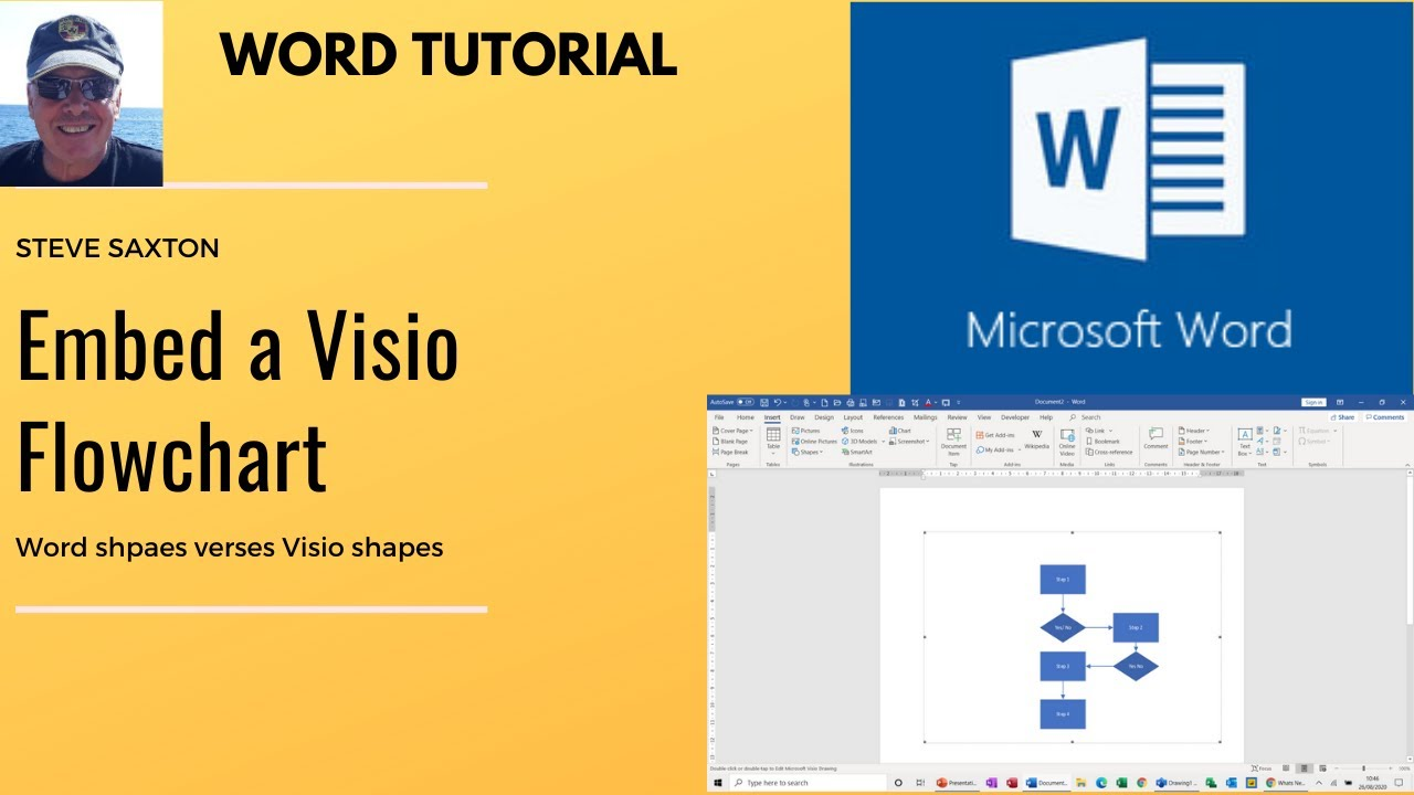 How To Embed A Visio Flowchart Into A Microsoft Word Document Youtube