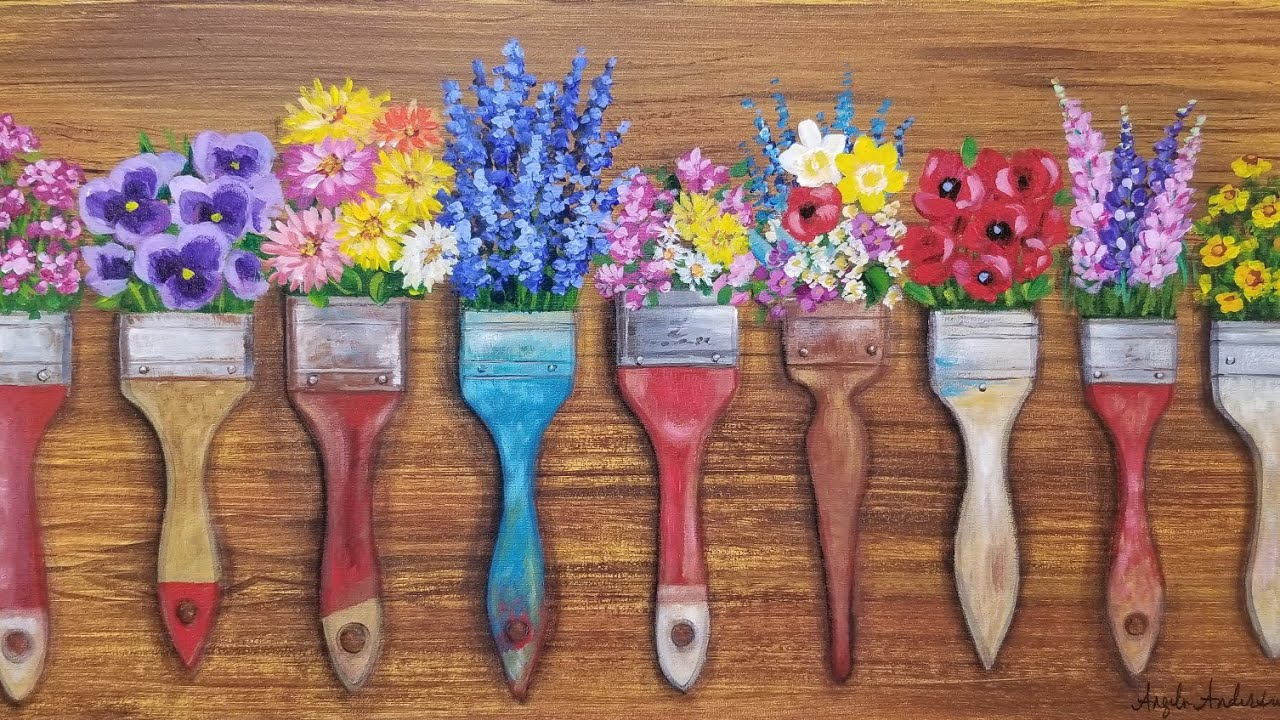 Watercolor Flowers And Paint Brushes: Flower Brushes Acrylic Painting LIVE Tutorial