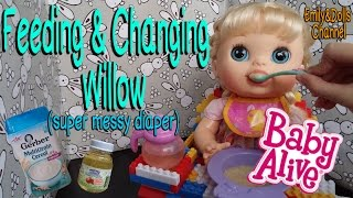 Feeding Baby Alive Real Surprises Doll Willow Cereal & Apple Juice🍹+ Changing SUPER Messy Diaper!