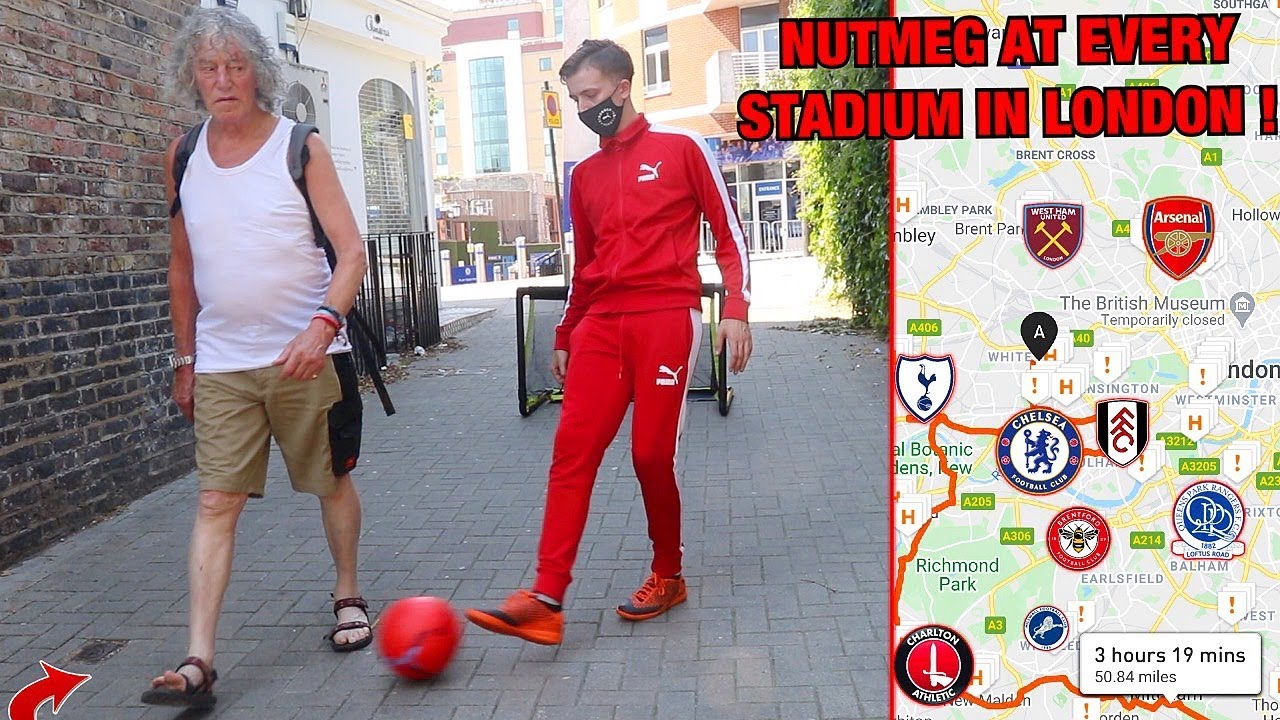 PUBLIC NUTMEGS at EVERY Stadium in LONDON! (Football Challenge)