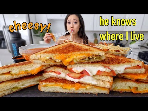 Cheesy Stuffed Grilled Cheese + Chili Fries MUKBANG | Eating Show