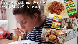 Eating back of the box food recipes for 24 hours
