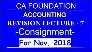 Consignment  l Revision Lecture - 7 l CA Foundation l By Mohan Gupta l DK Gola Classes