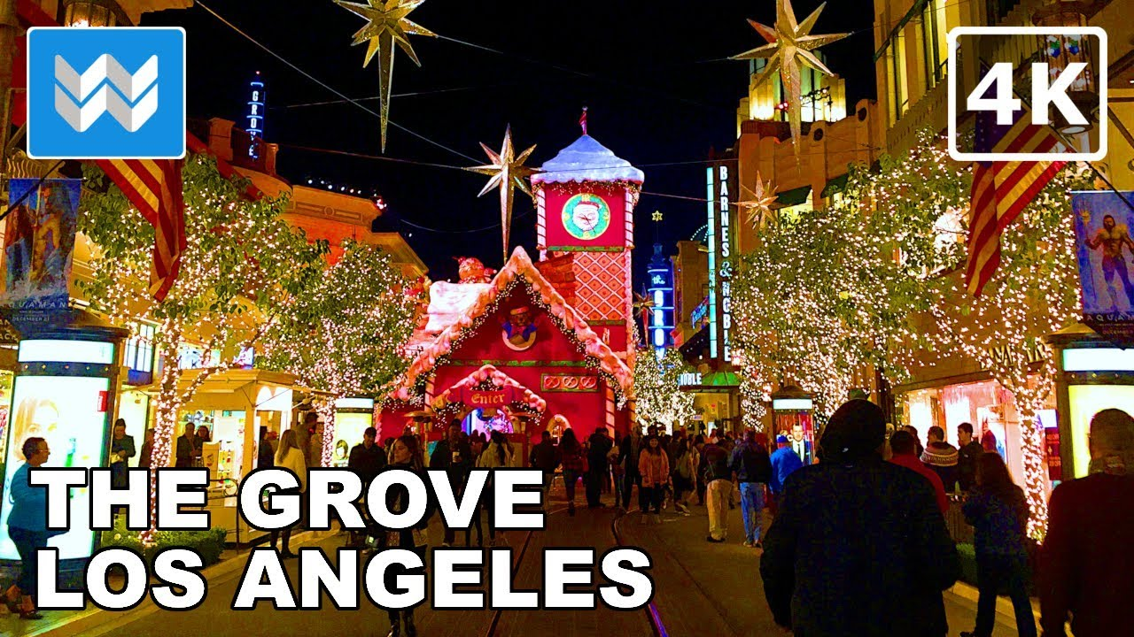 Christmas In Los Angeles.Amazing Christmas Lights At The Grove In Los Angeles Night Walking Tour La Travel Guide 4k