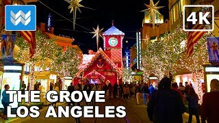 Amazing Christmas Lights at The Grove in Los Angeles | Night Walking Tour | LA Travel Guide【4K】