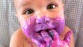 Смешные грязные дети - младенцы первый день рождения с тортом! Сборник 2 2016  [NEW HD]