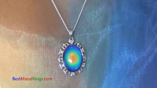 Beautiful Mood Pendant Necklace Sterling Silver - Changing Colors - Best Mood Rings