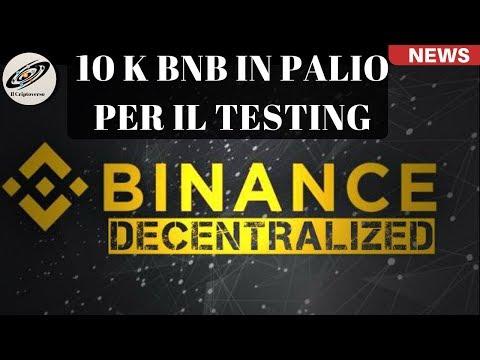 Binance DEX vi Premia per il Testing  ( 100k Dollari di BNB in palio )