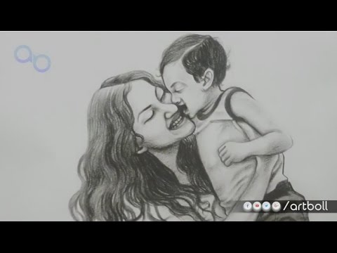 Mother and child pencil sketch from artboll