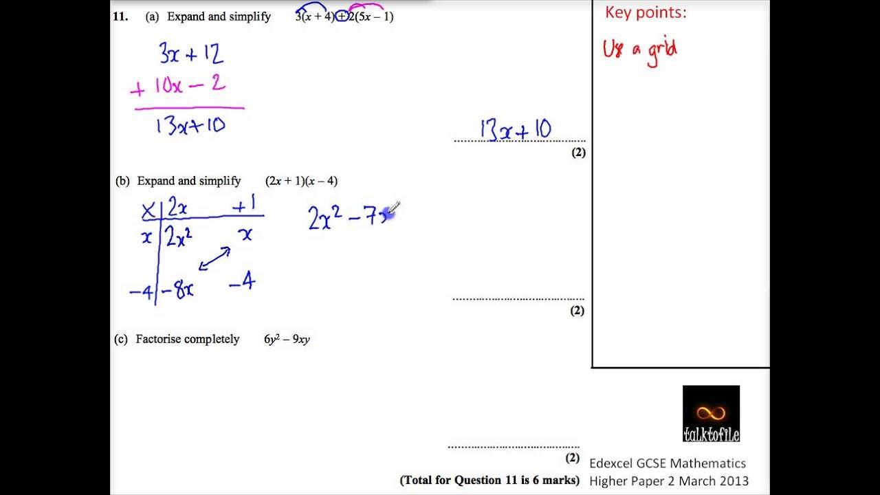 Q11 Algebra Expand Factorise H Paper2 March 2013 Edexcel