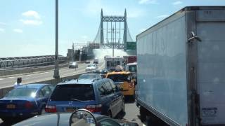 Truck Burning at TRIBoro Bridge