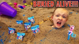 Buried Alive in the World's Biggest Kinetic Sand Box!!! Scavenger Hunt With Fingerling Minis Toys!!
