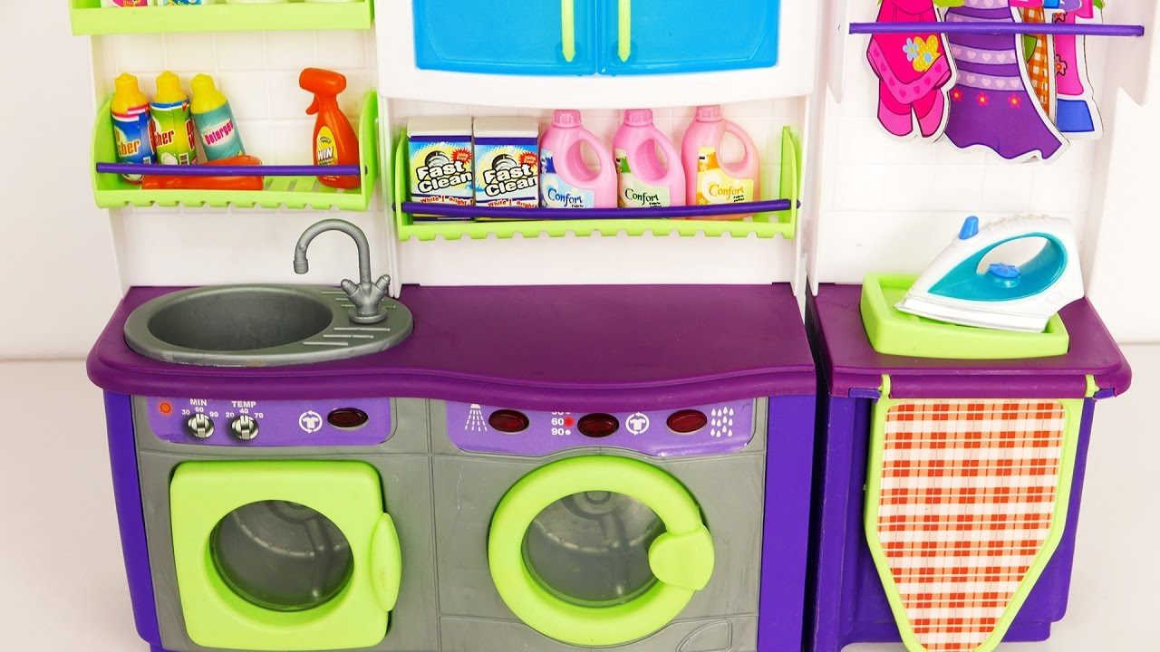 laundry washer and dryer playset for kids youtube. Black Bedroom Furniture Sets. Home Design Ideas