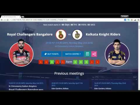 BANGALORE v/s KOLKATA IPL 2016 Live Streaming | Vivo IPL Live Cricket Match Today | ipl live stream