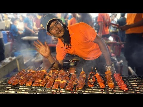 NIGHT MARKET FOOD in Manila Philippines: BBQ & BLOOD STEW