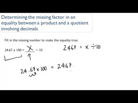Determining the missing factor in an equality between a product ...