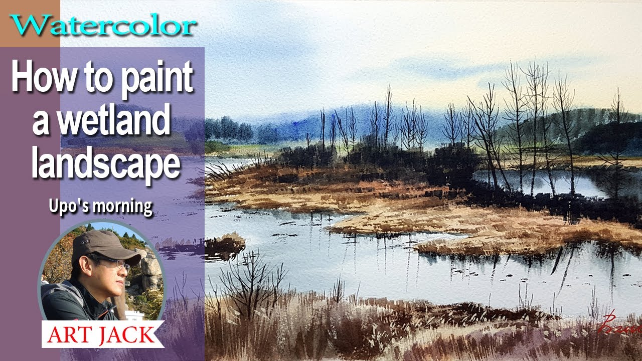 Watercolor | How to paint a wetland landscape | Upo's morning | Easy tutorial [ART JACK]