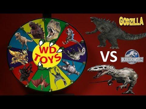 GODZILLA VS DINOSAURS!  Surprise Spinning Wheel Game Slime Jurassic World Fallen Kingdom Toys