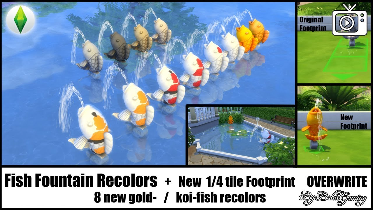 Bakies the sims 4 custom content fish fountain recolors for Sims 4 fishing