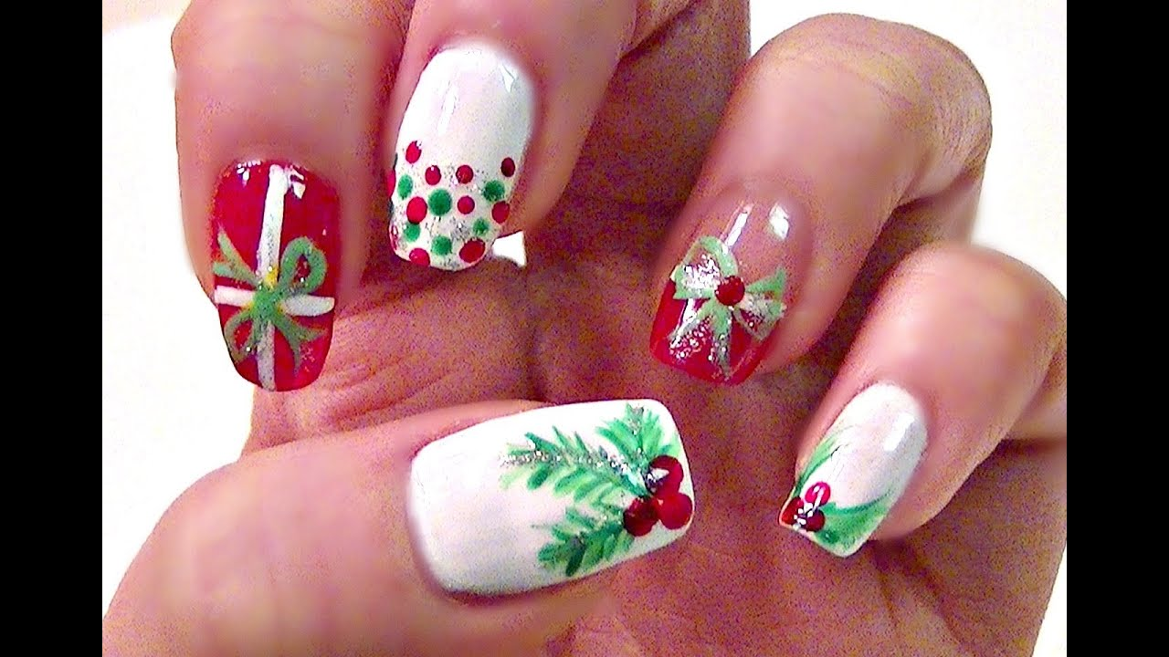 Easy christmas holly nail tutorial short nails youtube prinsesfo Gallery