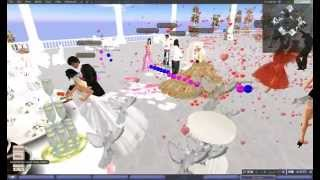 Second Life Wedding - режем торт и держим невесту за попку