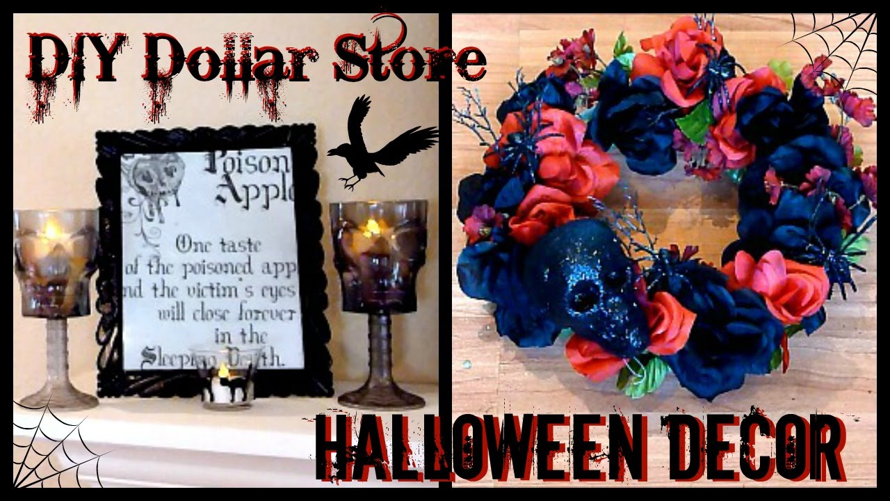DIY Halloween Decor  Dollar Store Goth Decor  Skull & Rose Wreath -  YouTube