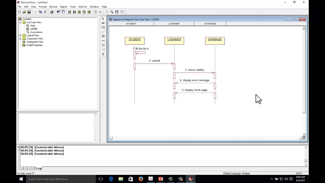 sequence diagram example for login form with rational rose [ 1280 x 720 Pixel ]