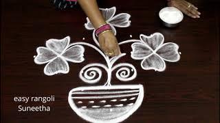 Beautiful flower pot kolam || simple design with 7 dots || easy rangoli muggulu