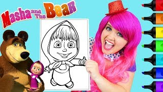 Coloring Masha And The Bear Coloring Page Prismacolor Paint Markers | KiMMi THE CLOWN