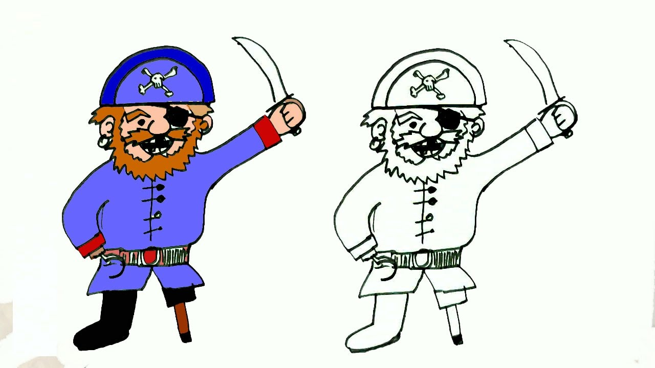 how to draw a pirate in easy steps for children beginners