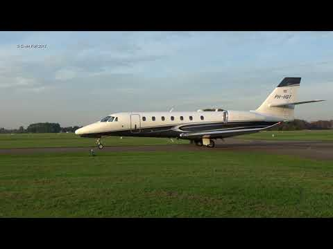 PH-HGT Cessna 680 Citation Sovereign Take Off / Departure Teuge Airport Holland 19-10-2017