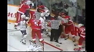 Darren McCarty vs Bob Rouse & Probert loses it
