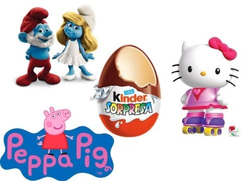 KINDER EGGS SMURFS 2 PEPPA PIG AND HELLO KITTY.HUEVOS KINDER PITUFOS 2 PEPPA PIG Y HELLO KITTY Videos De Viajes