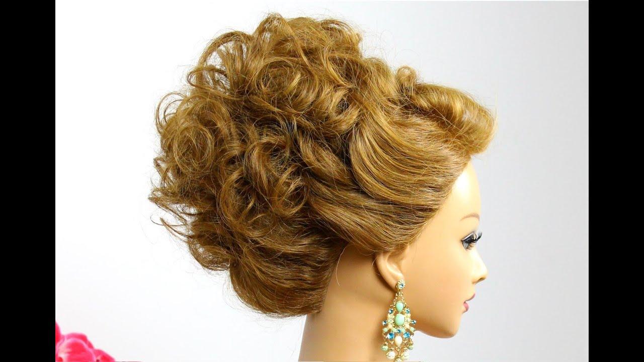 Hairstyle  for medium  hair  Wedding prom  updo  Tutorial