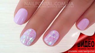Дизайн ногтей гель-лак shellac - Дизайн ногтей блестками (видео уроки дизайна ногтей)