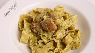 Pasta With Sausage & Creamy Pesto Recipe - Laura Vitale - Laura In The Kitchen Episode 391