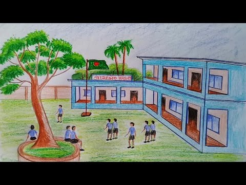 How To Draw School Scene Step By Step Very Easy Youtube