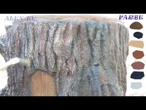 Gartendeko aus Beton. Baumstamm aus Beton selbst colorieren .