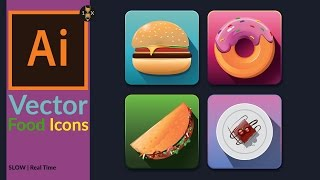 Drawing Vector Food Icons set in Illustrator | Slow - Real Time