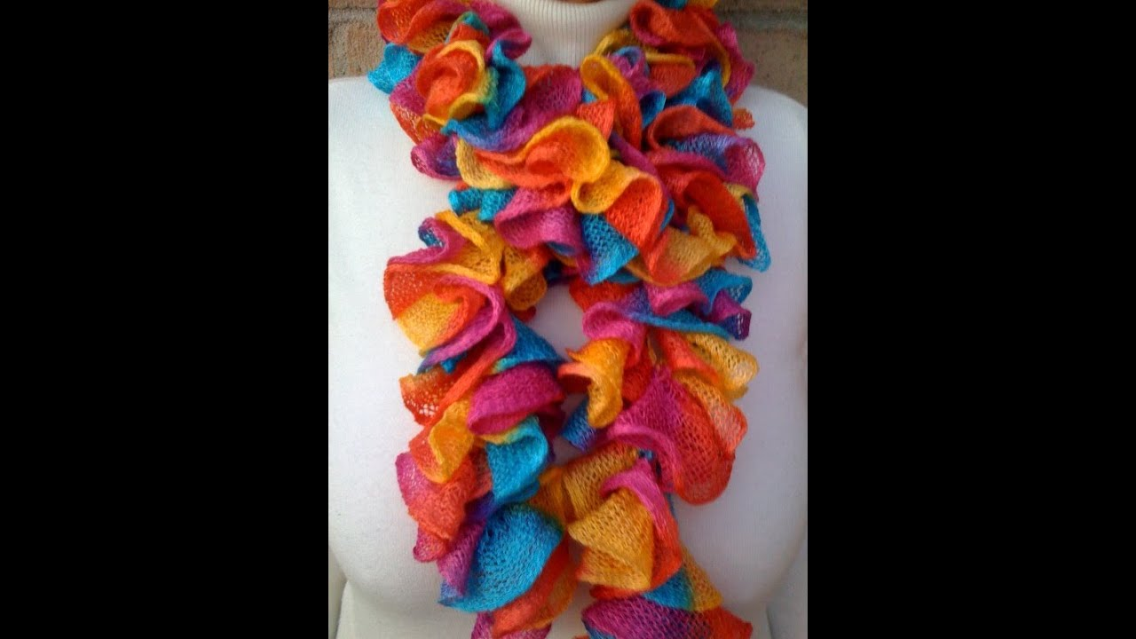 Crochet A Ruffled Scarf With The Afghan Or Tunisian Stitch Youtube