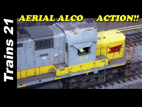 AMAZING AERIAL ALCO ACTION!! Moving Schnabels and Sand Out Of  Steamtown