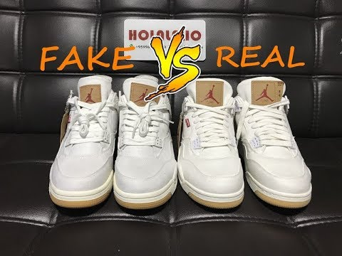 Comparison for education Real Vs Fake Air Jordan 4 Levi s White Denim 8fc1af266