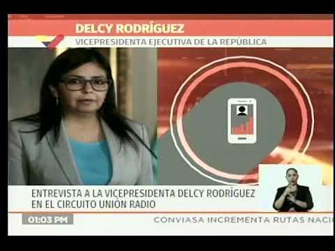 Delcy Rodríguez entrevistada en Unión Radio: amenazas de bloqueo naval contra Venezuela