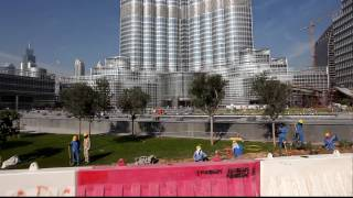 Burj Dubai  Burj Khalifa ,The Palace Hotel ,The Adress Hotel, Dubai Mall,Workers around,HD Quality