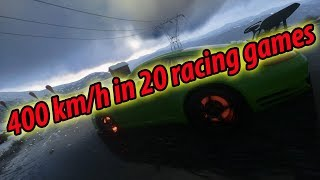 Reaching 400 km/h (~250 mph) in 20 different racing games
